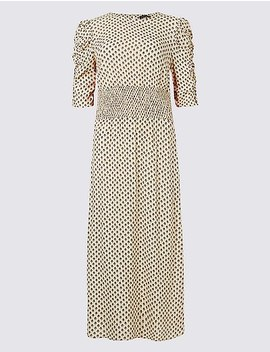 Printed Half Sleeve Midi Dress by Marks & Spencer