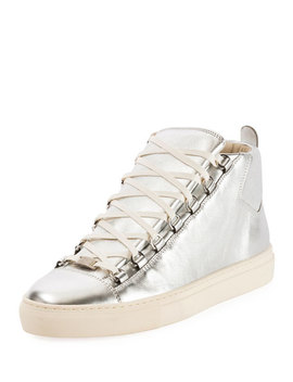 Men's Arena Metallic Leather High Top Sneaker by Balenciaga