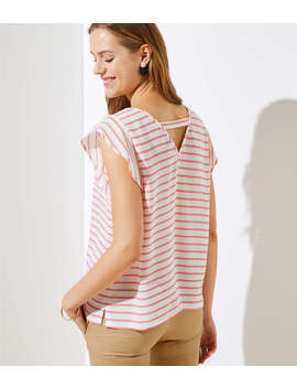 Petite Striped Cutout Back Flutter Top by Loft