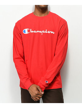 Champion Script Red Long Sleeve T Shirt by Champion