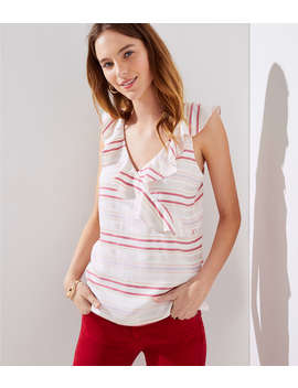 Petite Striped Ruffle Wrap Shell by Loft