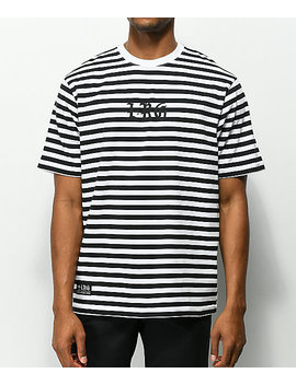 Lrg Bar Tab Black &Amp; White Striped T Shirt by Lrg