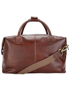 John Lewis Made In Italy Leather Holdall, Brown by John Lewis