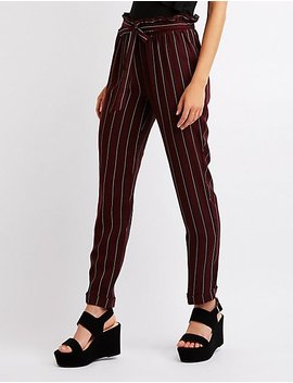 striped-tie-front-trousers by charlotte-russe