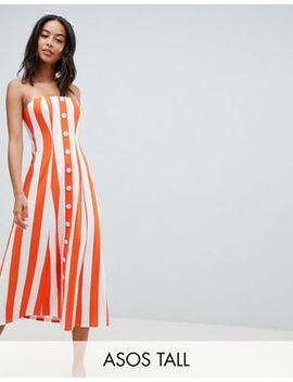 Asos Design Tall Deckchair Stripe Button Through Bandeau Midi Sundress by Asos Design