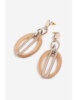Wood Oval Link Drop Earrings by Topshop