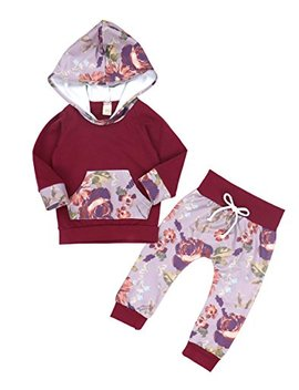 Oklady Baby Girls Florals Outfit Clothes Set Long Sleeve Hoodie Sweatshirt With Pocket by Oklady