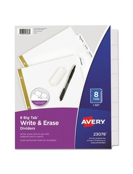 Avery® Big Tab Write On Dividers W/Erasable Laminated Tabs, White, Set Of 8 by Avery
