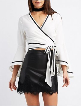 Wrap Tie Bell Sleeve Crop Top by Charlotte Russe