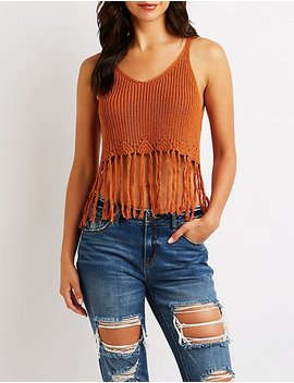 Ribbed Fringe Crop Top by Charlotte Russe