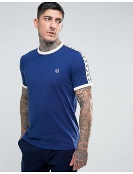 Fred Perry Slim Fit Sports Authentic Taped Sleeve T Shirt In Blue by Fred Perry