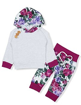 Baby Girls Long Sleeve Flowers Hoodie Tops And Pants Outfit With Kangaroo Pocket Headband by Oklady