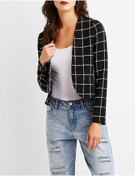 Windowpane Crop Blazer by Charlotte Russe