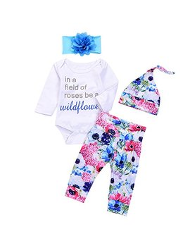 4 Pcs Infant Baby Boy Girls Letters Long Sleeve Romper+Flower Pant+Hat+Headband Warm Clothes by Mekilyn