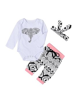 Palarn Newborn Toddler Outfits Clothes, Baby Boys Girls Elephant Romper Pants 3pcs Set by Palarn