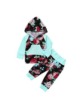 Corsion Hot Sale Newborn Infant Baby Boy Girl Floral Print Hoodie Tops+Pants Outfit Clothes Set by Corsion
