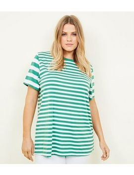 Curves Green Contrast Stripe T Shirt by New Look