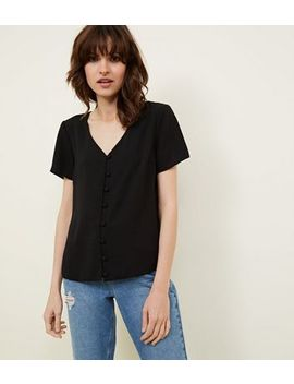 Black V Neck Button Front Blouse by New Look
