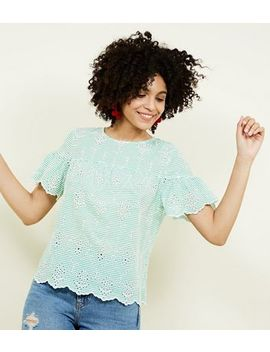 Green Stripe Broderie Smock Top by New Look