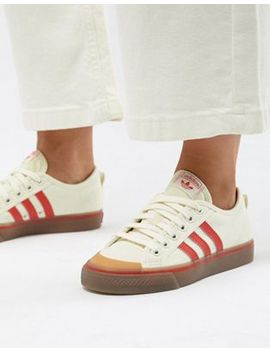 Adidas Originals Nizza Canvas Trainers In White And Red by Adidas