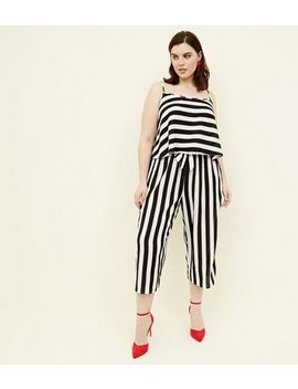 Curves White Wide Stripe Cropped Trousers        Curves White Wide Stripe Cami by New Look