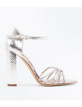 Wide Fit Silver Strappy Block Heels by New Look
