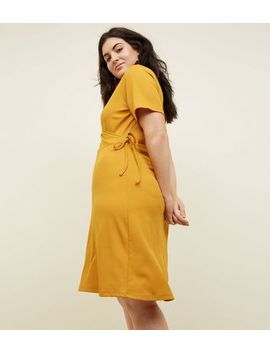 Curves Mustard Ribbed Jersey Wrap Dress by New Look