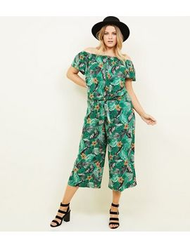 Curves Green Tropical Floral Cropped Trousers 				  				 					 				 			 			 					Curves Green Tropical Floral Bardot Top by New Look