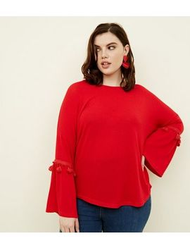 Blue Vanilla Curves Red Tassel Trim Top by New Look
