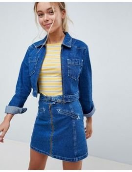 Asos Design Denim Cropped Jacket With Western Belt Buckle Detail Two Piece by Asos Design