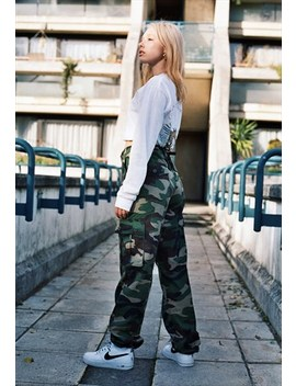 Camo Trousers With Woven Label Detail by Dream But Do Not Sleep