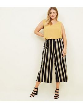 Curves Black Stripe Scuba Cropped Trousers by New Look