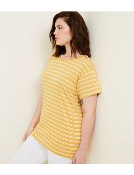 Curves Mustard Stripe Oversized T Shirt by New Look