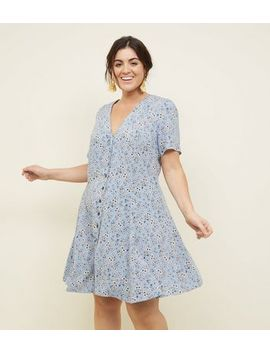 Curves Blue Ditsy Floral Button Front Tea Dress by New Look