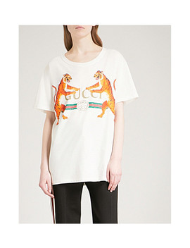 Panther Print Cotton Jersey T Shirt by Gucci