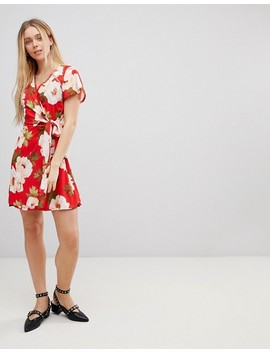 Girls On Film Wrap Dress In Large Floral Print by Girls On Film