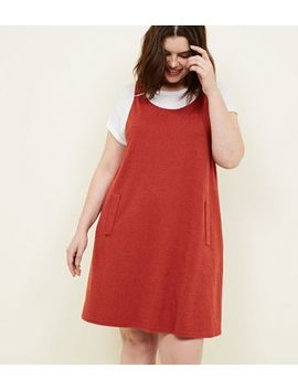 Curves Rust Cross Hatch Pinafore Dress by New Look