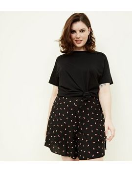 Curves Black Floral Wide Leg Shorts by New Look