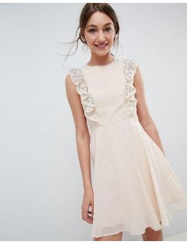Asos Design Mini Skater Dress With Embellished Frill Sleeves by Asos Design