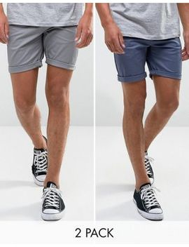 Asos 2 Pack Slim Chino Shorts In Grey & Blue Save by Asos