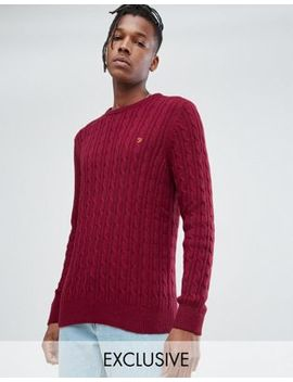 Farah Ludwig Cable Knit Jumper In Red by Farah