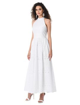 Floral Eyelet Cotton Halter Maxi Dress by Eshakti