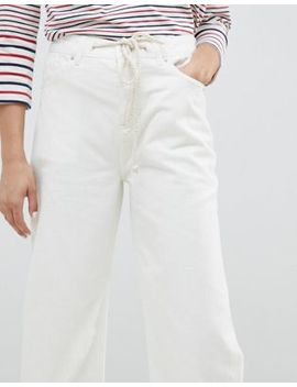 Asos Design Skater Jeans In Aged White With Rope Belt by Asos Design