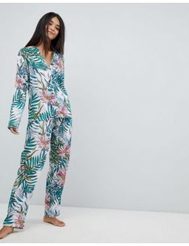 Asos Design Botanical 100 Percents Modal Traditional Shirt & Wide Leg Pyjama Set by Asos Design