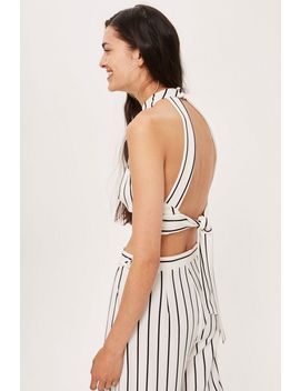 **Stripe Crossover High Neck Top By Love by Topshop