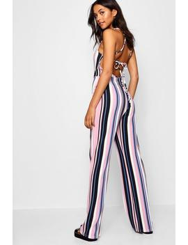 Tall Esme Tie Back Stripe Jumpsuit by Boohoo