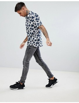 Boohoo Man Revere Shirt With Palm Print In White by Boohoo Man