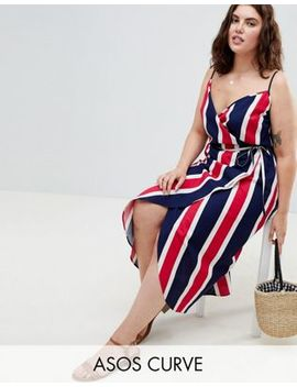 Asos Design Curve Linen Wrap Side Maxi Dress In Bold Stripe by Asos Design