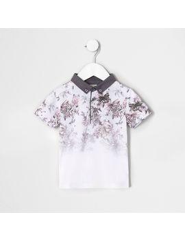 Mini Boys White Floral Print Fade Polo Shirt by River Island
