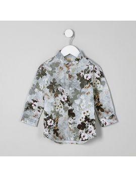 Mini Boys White Floral Geo Print Shirt by River Island